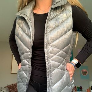 Silver North Face Zip Up Vest